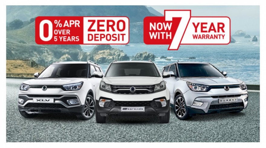 New SsangYong 0% APR and Zero Deposit Finance for 2018